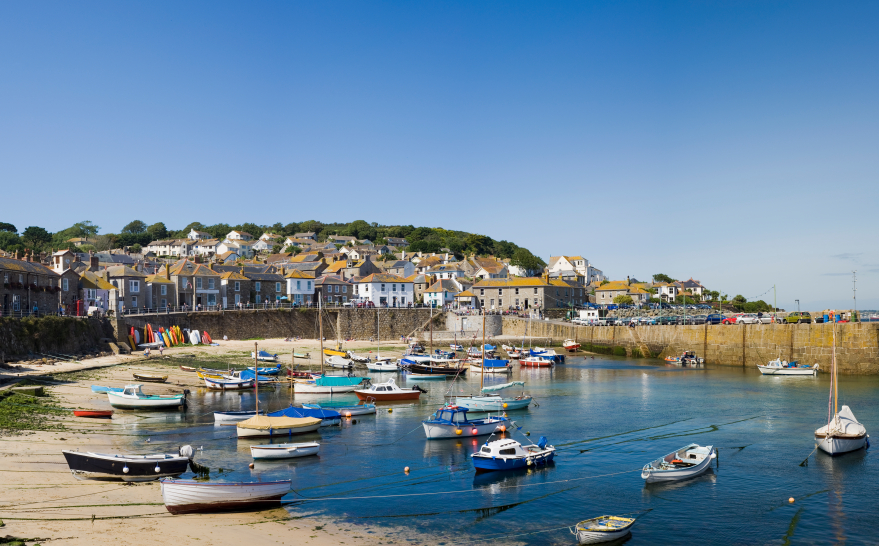 Scenic fishing village of Mousehole, Cornwall in the West Country, England